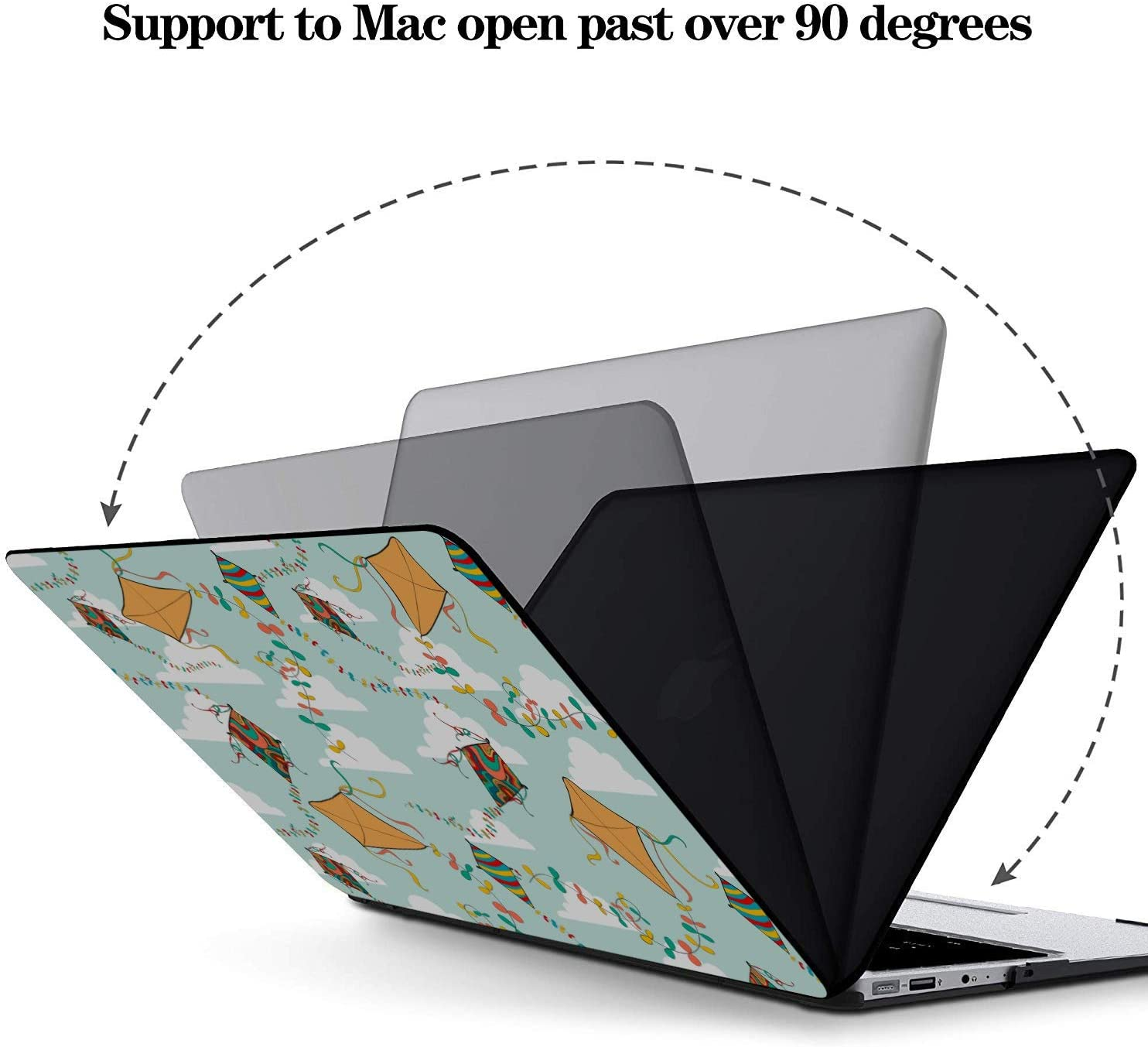 MacBook A1466 Case Spring Children Play Game Toy Kite Plastic Hard Shell Compatible Mac Air 11 Pro 13 15 MacBook Case 12 Inch Protection for MacBook 2016-2019 Version