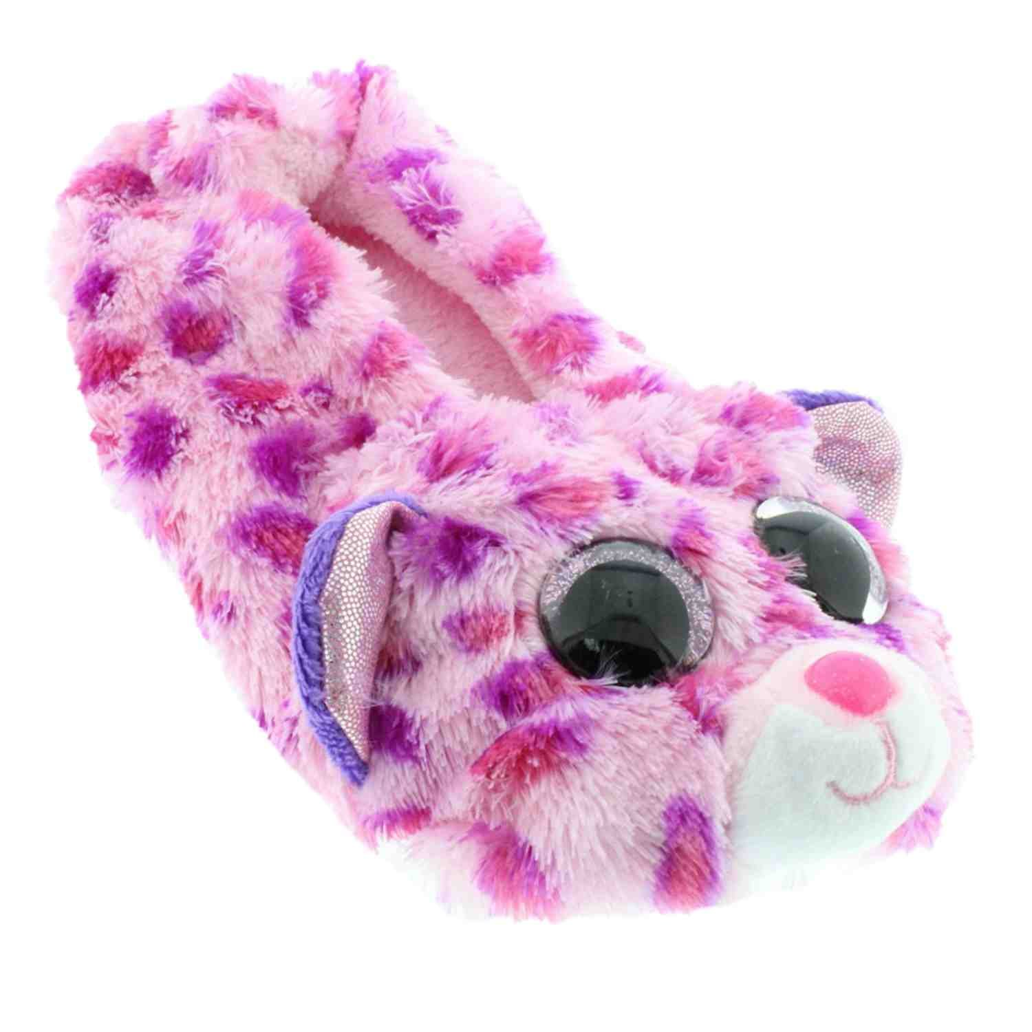 TY Beanie Boos Kids Girls Plush Glamour Leopard Non Skid Slipper Socks, Pink/Purple, Large