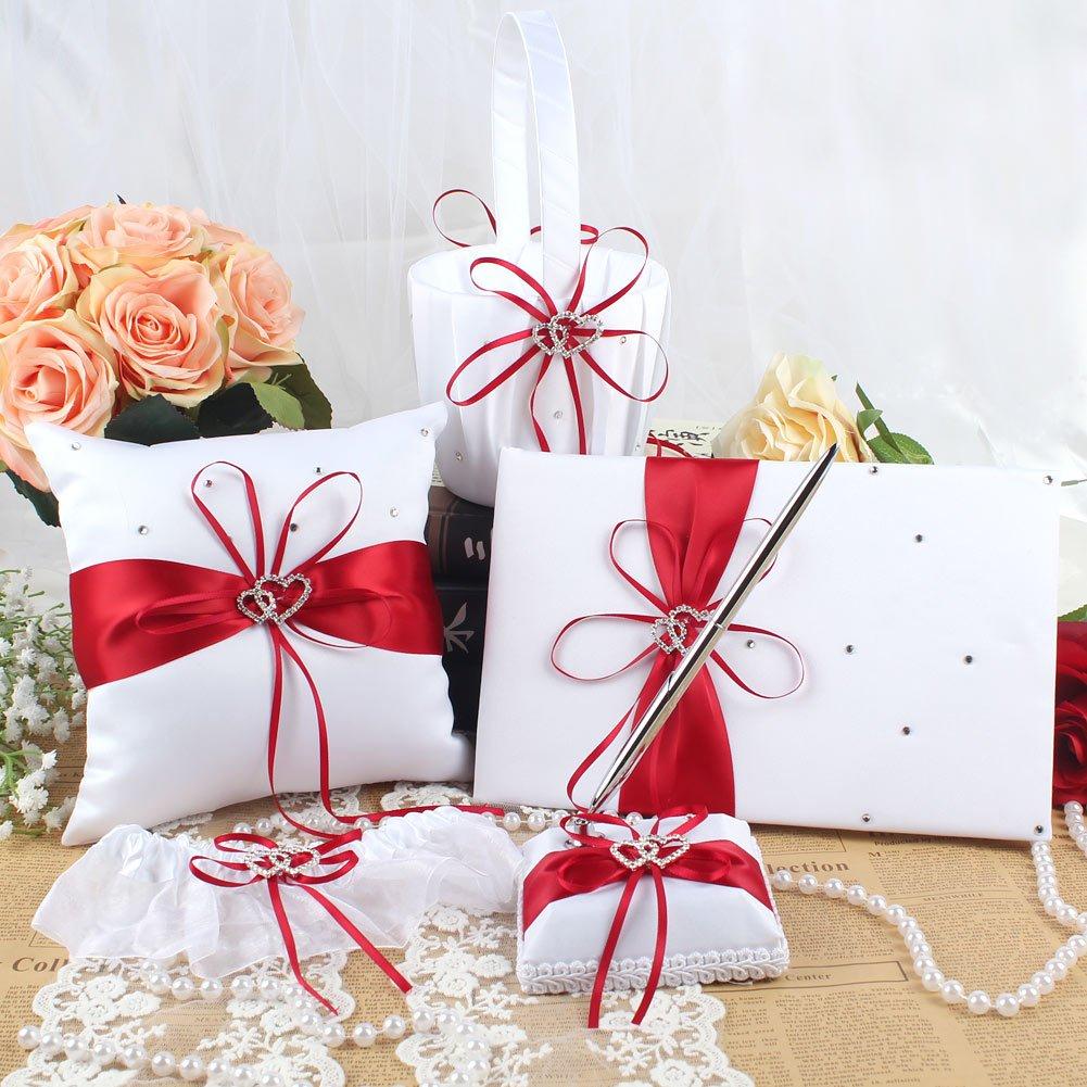 Amazon.com: OurWarm 1 Wedding Guest Book + 1 Pen Set + 1 Flower Girl ...