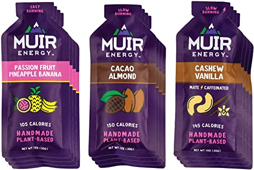 Muir Energy Real Food Energy Gel Variety Pack – 12-Count – Organic Fuel for Endurance Athletes Passion Fruit Pineapple Banana Cacao Almond Cashew Vanilla Mate