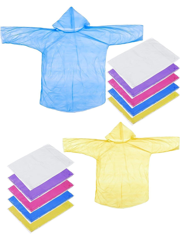 Jovitec 12 Piezas de Poncho de Lluvia Desechable de Familia Impermeables de Emergencia para Actividades al Aire Libre de Adultos Niños, 6 Piezas para Adultos y 6 Piezas para Niños, Multicolor