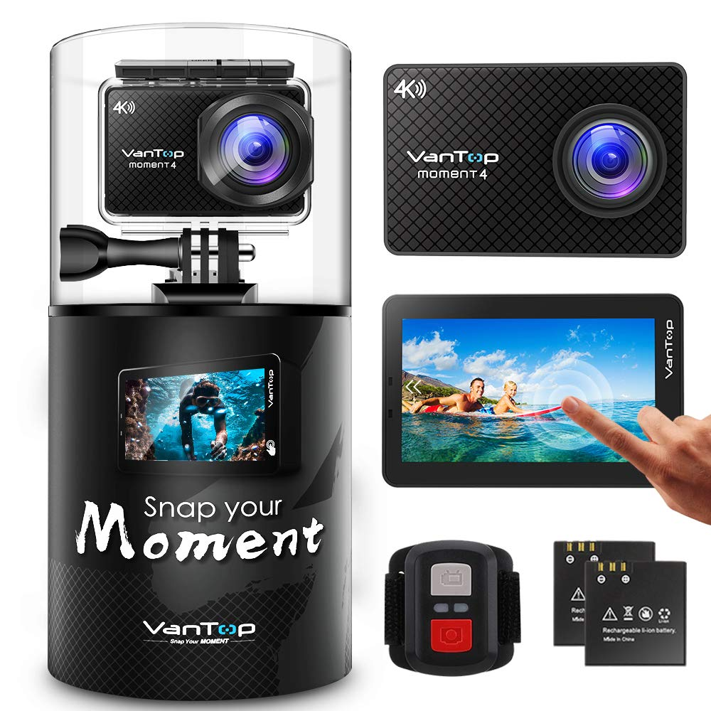 VanTop Moment 4 4K Sports Action Camera w/ 32GB Microsd Card, 20MP Sony Sensor, EIS, Touch Screen, Adjustable View Angle, 30M Waterproof, Remote, Dual Battery & GoPro Compatible Accessories Kit by VanTop
