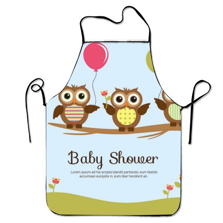 ベビーシャワーカードwith Cute Owlsエプロンレストランのよだれかけエプロン One Size  Baby Shower Card With Cute Owls1 B07FBDVLNL