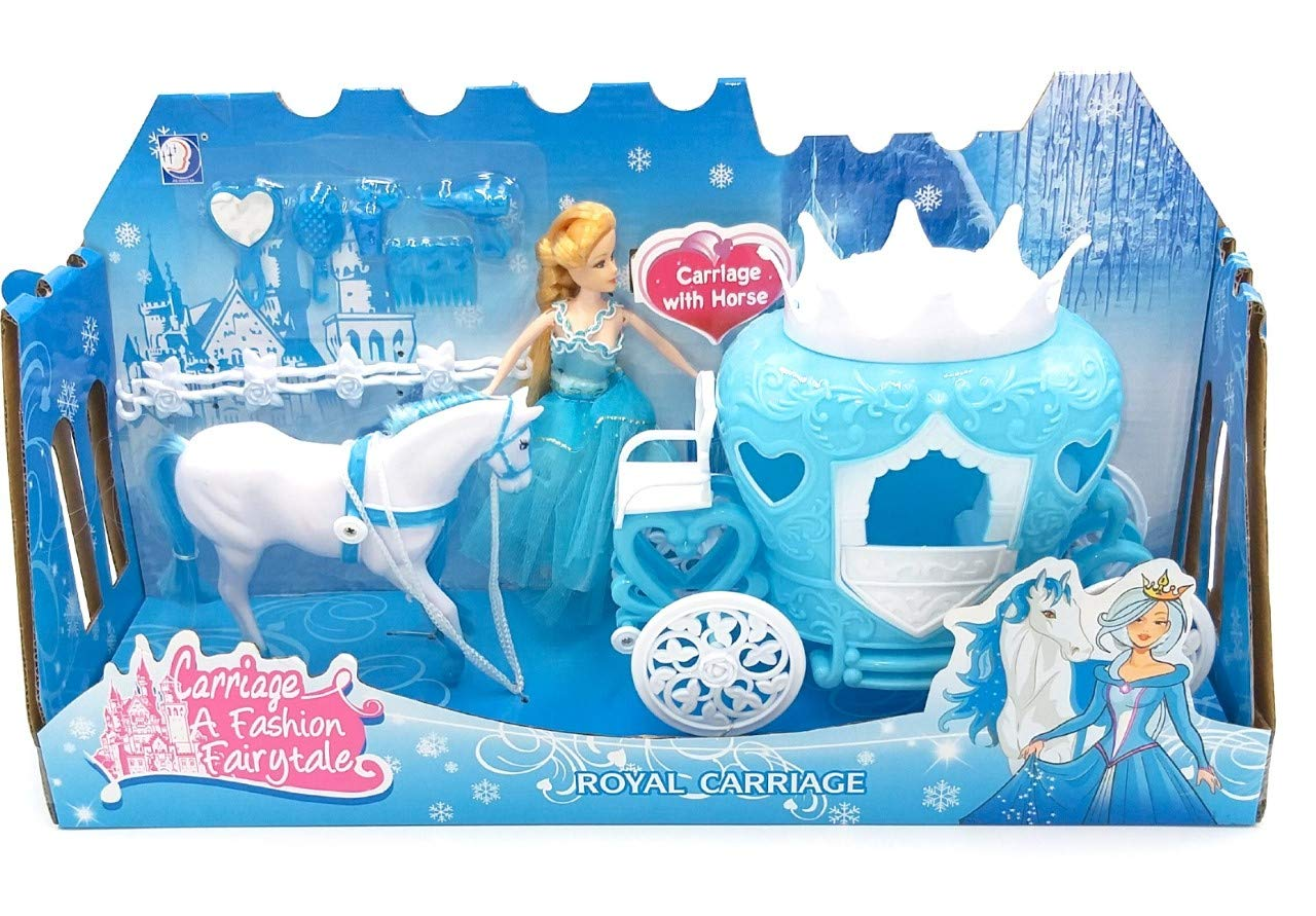 """W/'TOY 8014966382584/""""Carriage with Horse//2 Dolls Toy"""