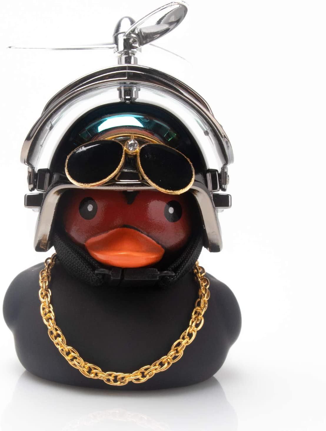 wonuu Duck Car Dashboard Decorations Cool Black Rubber Duck for Car Funny Car Accessories Rubber Duck with Thruster Helmet Sunglasses, and Gold Chain Cool Ornaments