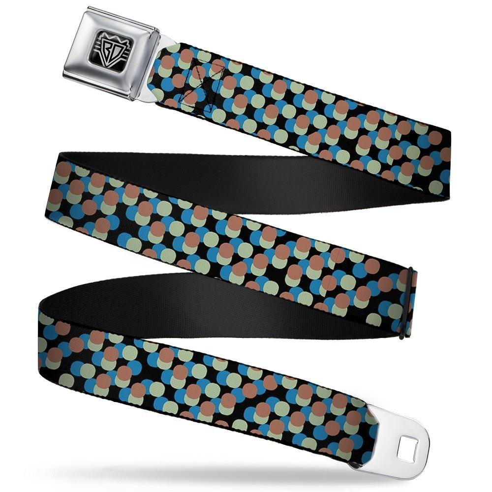 1.5 Wide 24-38 Inches in Length Polka Dots Stacked Black//Blue//Sage//Brown Buckle-Down Seatbelt Belt
