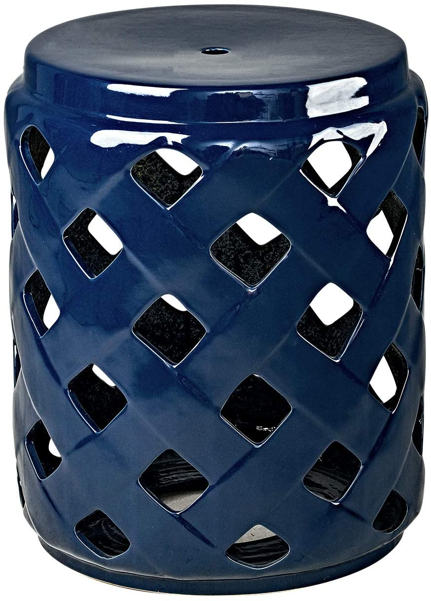 "MOTINI Heavy Duty Ceramic Lattice Garden Stool for Indoor Outdoor Decorative Side Table 17"" H, Dark Blue"