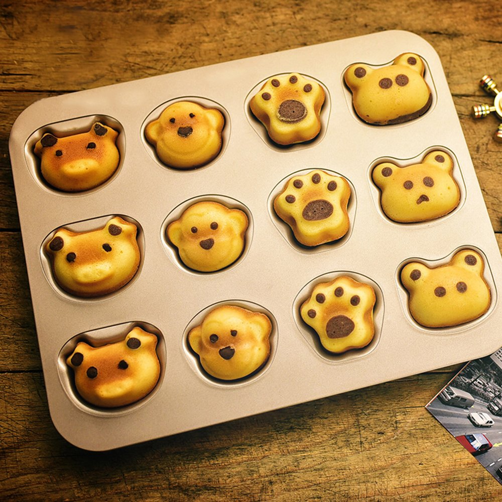 FOR BAKE 12 Cup Cartoon Cake Mould Carbon Steel Nonstick Bakeware Baking Pan Tray Frog Cat Claw Monkey Pig by FOR BAKE (Image #6)