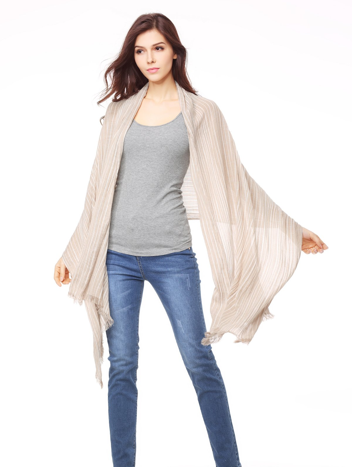 Cotton Scarf Shawl Wrap Soft Lightweight Scarves And Wraps For Men And Women. (Beige cream) by Jeelow (Image #5)