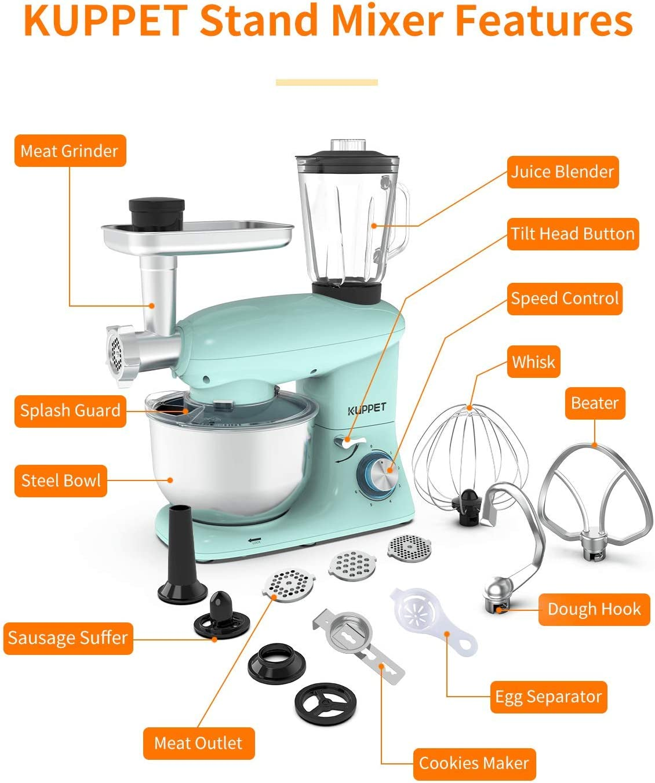 6 Speed Electric Mixer, 3 in 1 Stand Mixer/ Tilt Head Kitchen Mixer/ Meat Grinder/Juice Blender, 6 Quarts 850W Food Mixer/Light Blue