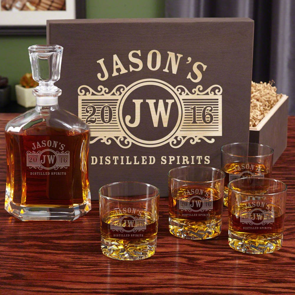 Marquee Personalized Decanter Set with Wood Gift Box (Customizable Product)