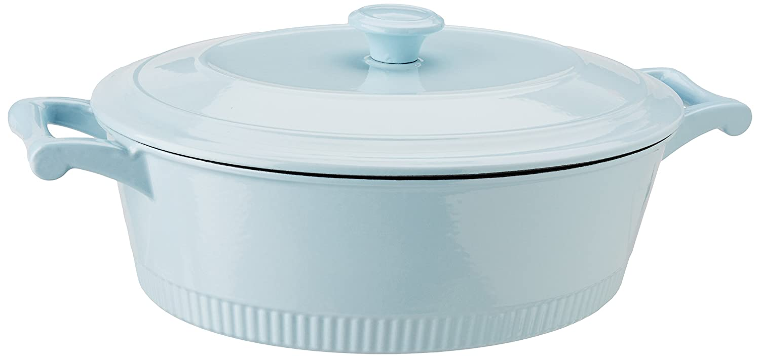 KitchenAid KCTI60CRGB Traditional Cast Iron Casserole Cookware, 6 quart, Glacier Blue