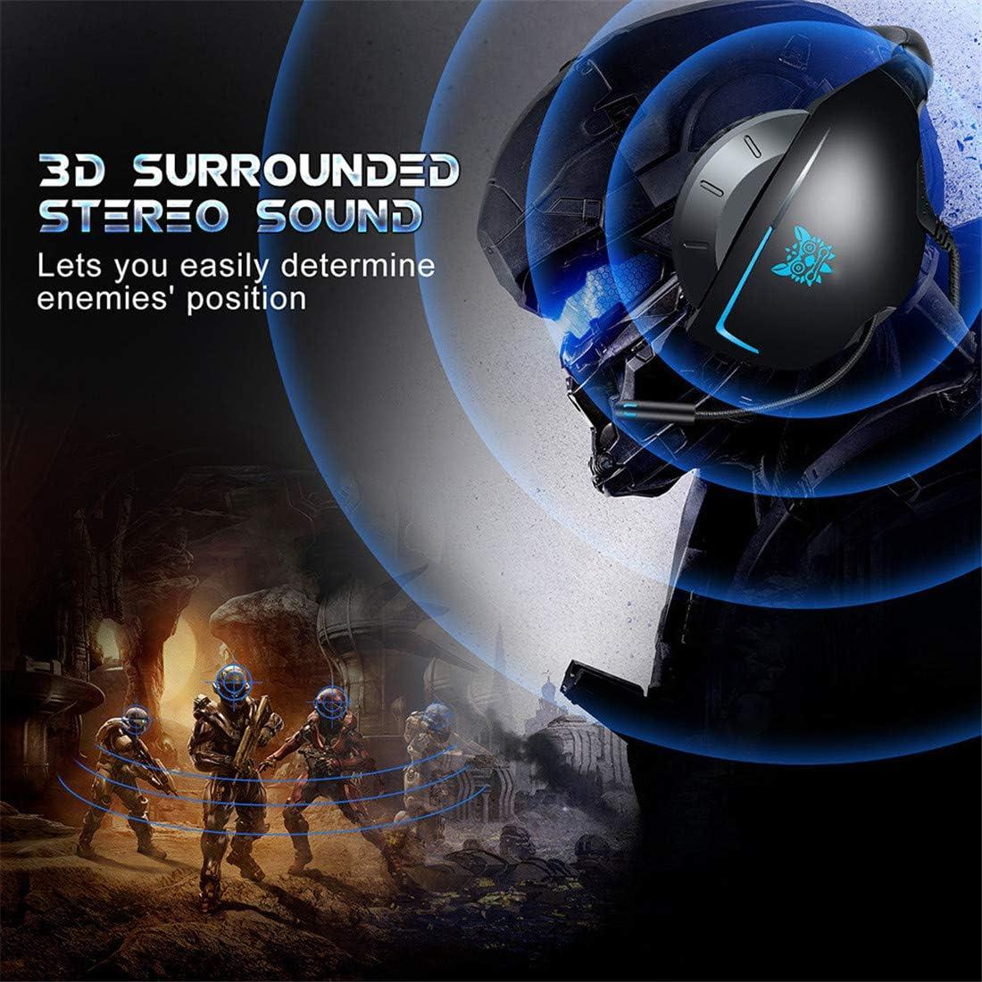 TAOXUE Casque Gaming PS4, Casque Gaming avec Micro Anti Bruit Casque Gamer LED Lampe Stéréo Bass 3.5Mm Jack pour PC/Mac/Laptop,Rouge Blue