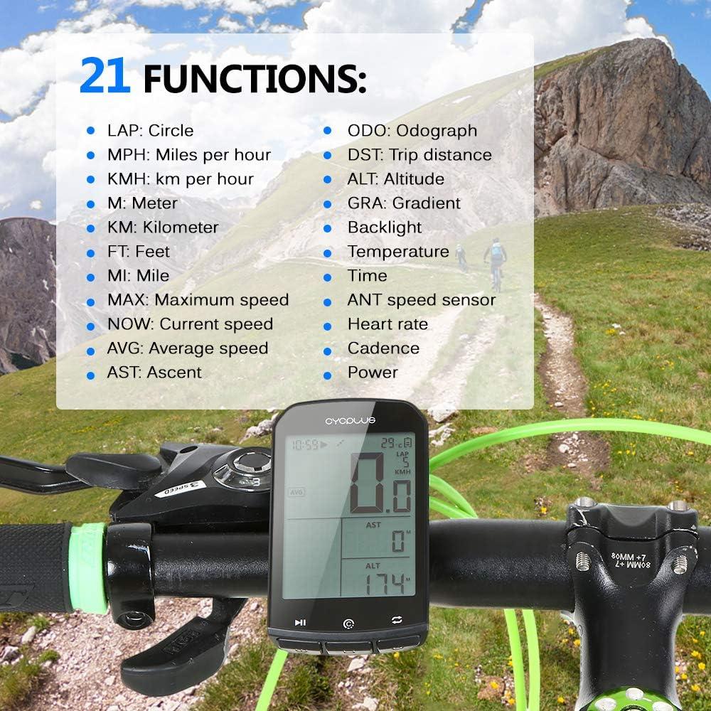 Bicicleta Computadora inal/ámbrica Veloc/ímetro Digital Luz de Fondo IPX6 Computadora de Bicicleta precisa Benkeg-Computadora de Ciclismo GPS Inteligente BT 4.0 Ant