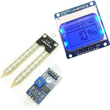 Kit de prueba de medidor de humedad del suelo Módulo de pantalla lcd5110 Sensor de humedad para Arduino: Amazon.es: Electrónica