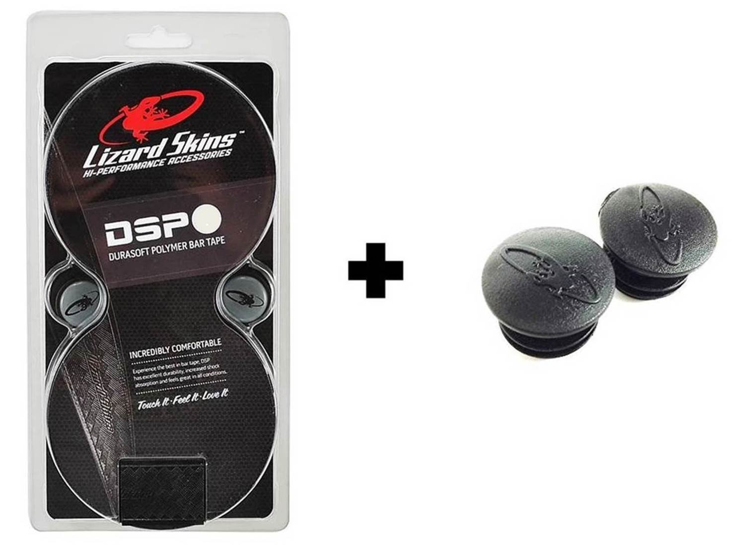Lizard Skins Road DSP 2.5mm black  bar tape bundle | 2 rolls of tape and 2 spare bar plugs by Lizard Skins