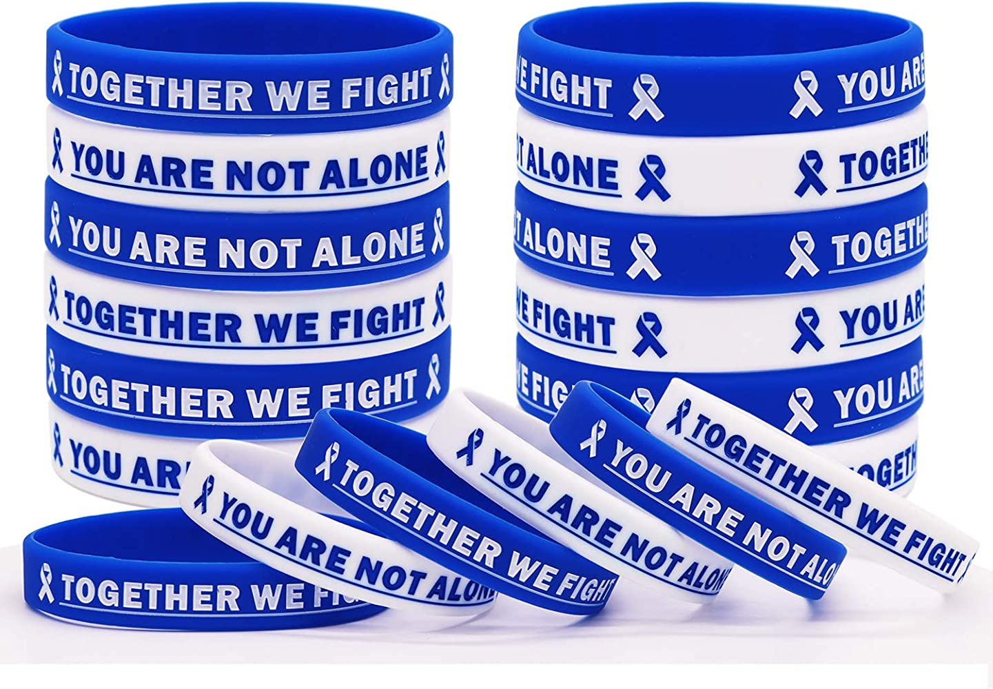 Amazon Com Blue Cancer Awareness Rubber Bracelet Ribbon Silicone Wristband With Saying Together We Fight You Are Not Alone Gift For Patients Family And Friends Clothing