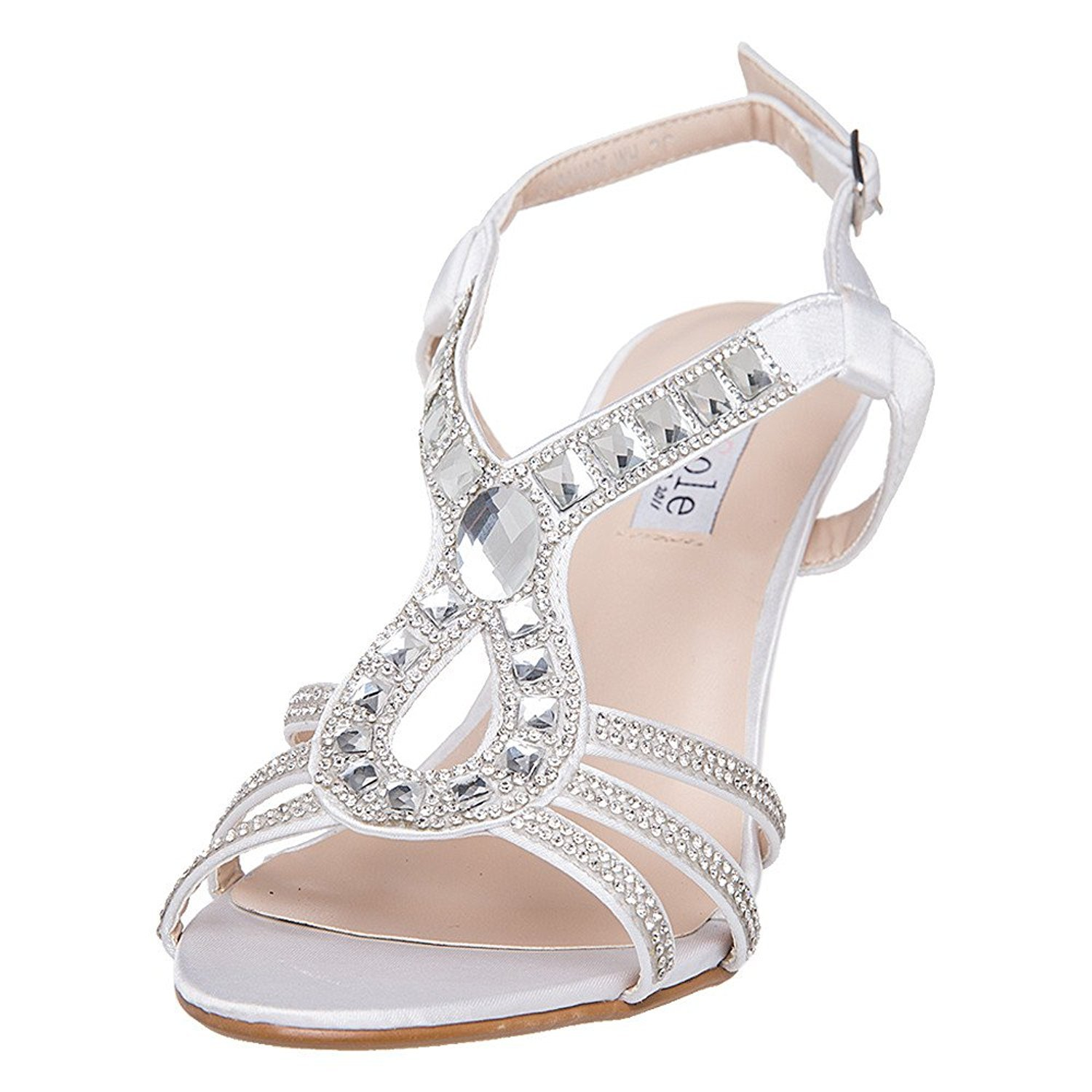 d51d3417bb Amazon.com   SheSole Women's Strappy Heels Dress Sandals Rhinestone Prom  Party Evening Wedding Shoes   Heeled Sandals
