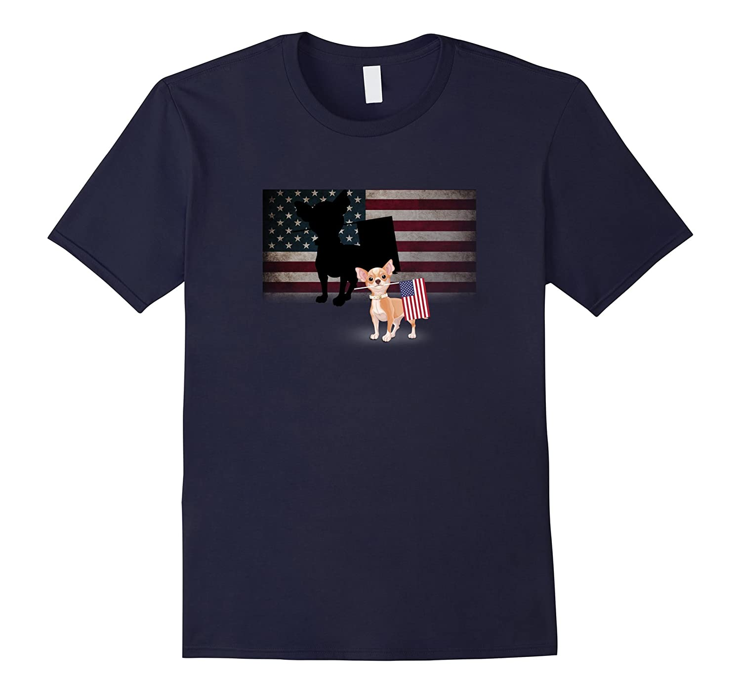 4th July Chihuahua American Flag Novelty T-Shirt-Art