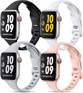 GEAK 4 Pack Bands Compatible with Apple Watch Band 40mm 38mm for Women, Soft Silicone Sport Replacement Band Compatible with iWatch Bnads 38mm Series 6 5 4 3 2 1, Black/White/Gray/Sand Pink