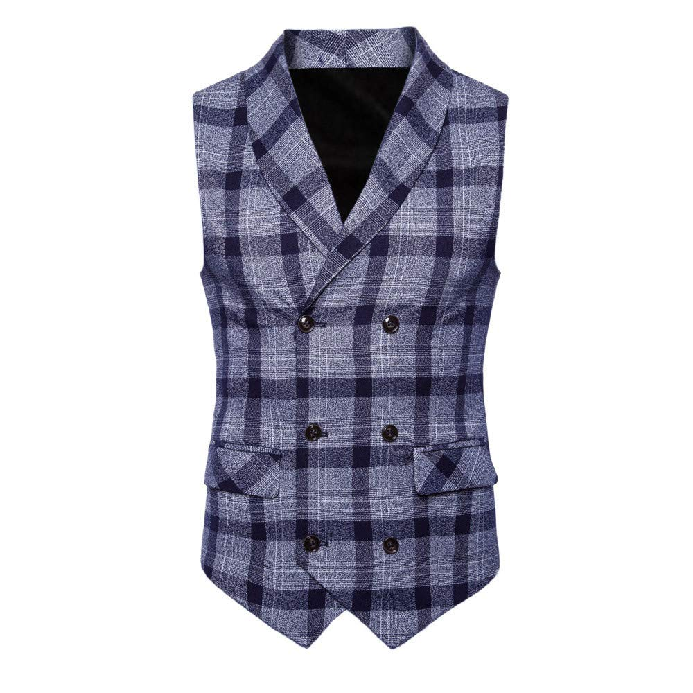 Men's T-Shirts Clearance WEUIE Men Plaid Button Casual Print Sleeveless Jacket Coat British Suit Vest Blouse (3XL, Blue)