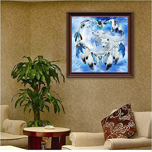 Blxecky 5D DIY Diamond Painting By Number Kits,Beauty and the wolf 35X32CM//14X13inch