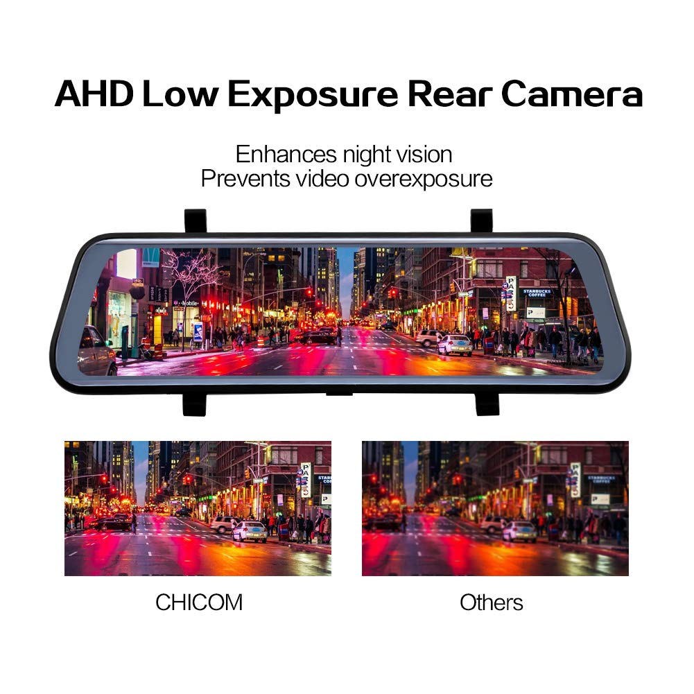 CHICOM Mirror Dash Cam Backup Camera 9.66 Full Touch Screen Stream Media Dual Lens Full HD Reverse Camera,1080P 170/° Full HD Front and 1080P 140/°Wide Angle Full HD Rear View Camera,24-Hour Parking Black