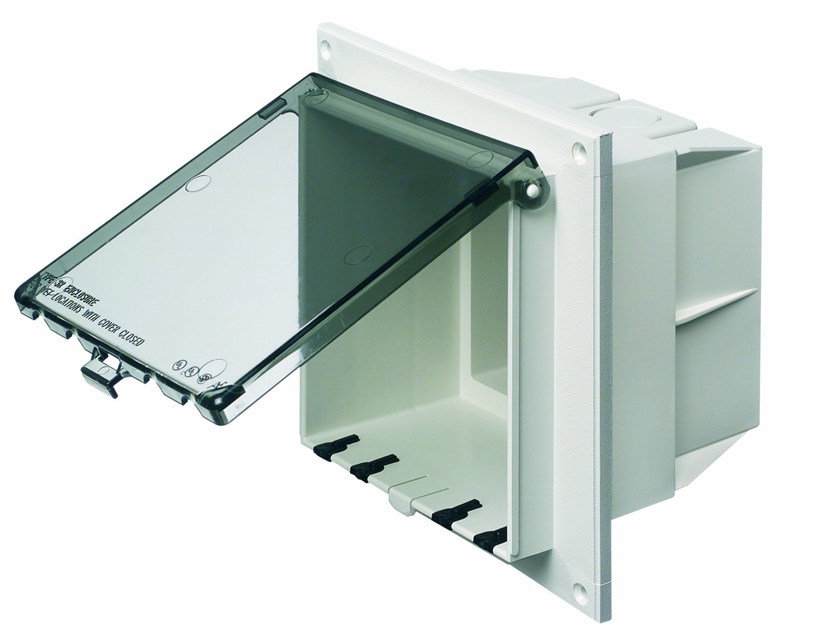 Arlington DBVR2C-1 Low Profile IN BOX Electrical Box with Weatherproof Cover for Flat Surfaces, 2-Gang, Vertical, Clear by Arlington Industries (Image #1)