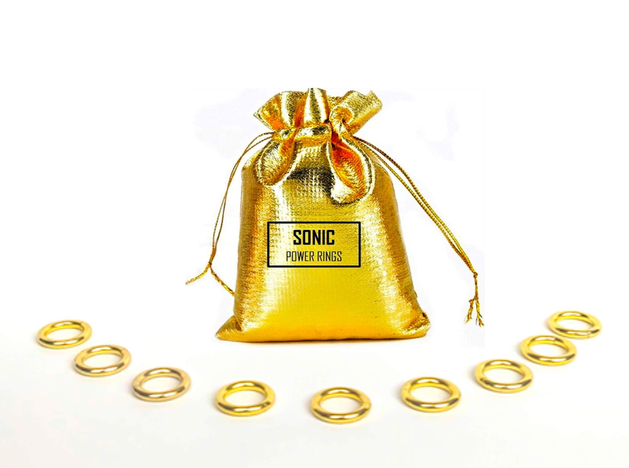 Toys Sonic - Gold 9 Mini Metal Power Rings - Game Figure Display - by AAA World