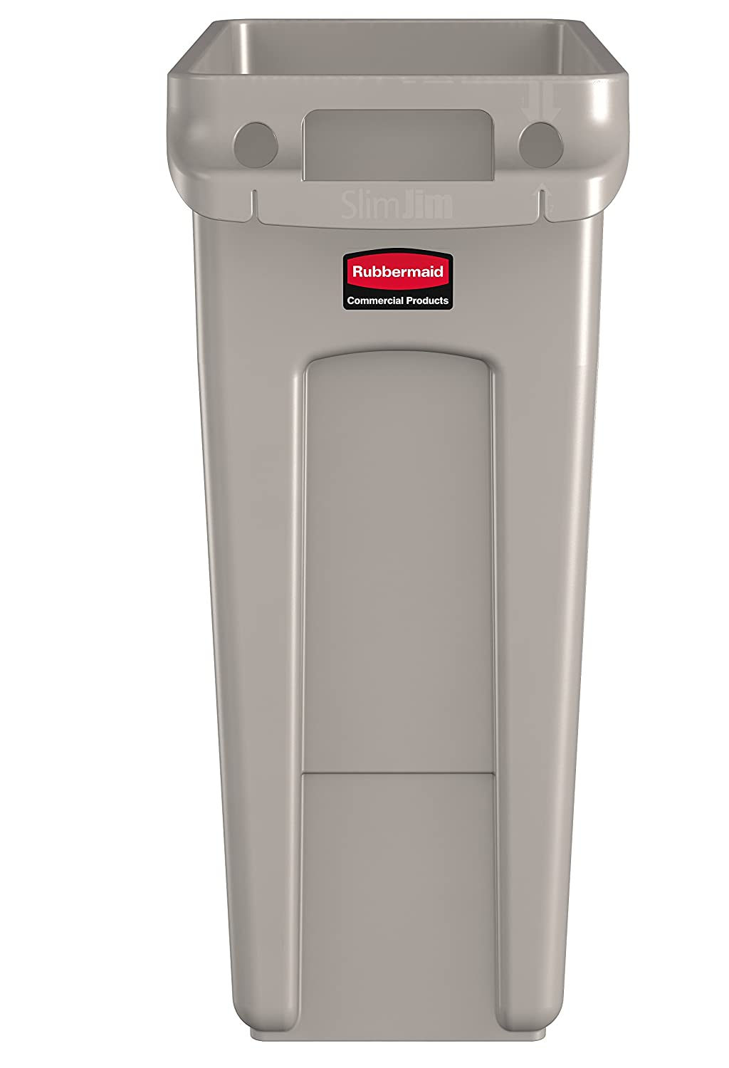 amazoncom rubbermaid commercial vented slim jim trash can waste receptacle 16 gallon beige plastic 1971259 industrial scientific - Rubbermaid Trash Cans