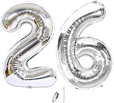 Huture 2 Globos Número 26 Figuras Globo Inflable de Helio Globos Grandes de Aluminio Mylar Globos de Plata Gigantes Número Globos 40 Pulgadas para Fiesta de Cumpleaños decoración graduación XXL 100cm