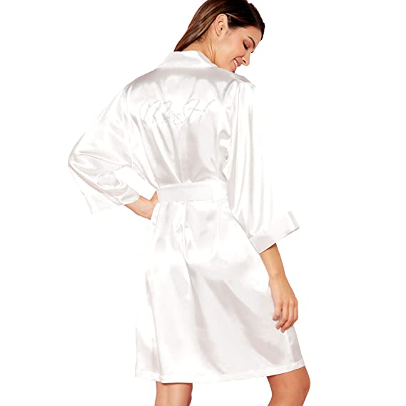 The Collection Womens Ivory  Mrs H  Satin Dressing Gown 16 to 18 ... 417bed643