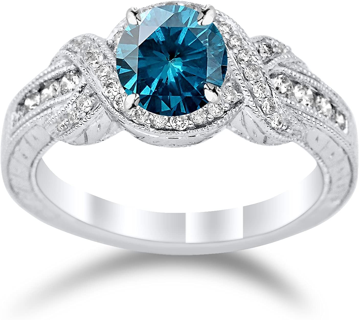 Twisting Channel Set Knot Diamond Engagement Ring with a 1 Carat Blue Diamond Heirloom Quality Center