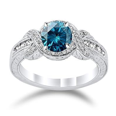 Amazon.com: Anillo de compromiso de diamante con nudo y un ...