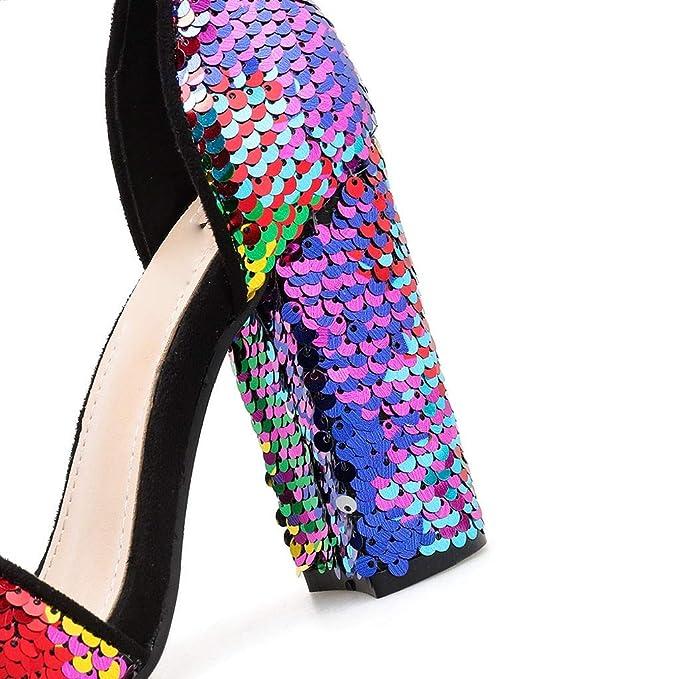 d3d0611601dcc Amazon.com: Women High Chunky Heel Pumps Shoes Sequined Sandals ...