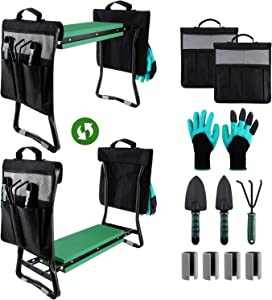 Sophena Garden Kneeler and Seat, Foldable Gardening Stool Portable EVA Foam Pad Outdoor for Gardening with 2 Tool Pouches /3 Tool Accessorie/1 Pair of Gloves, Large-23.6