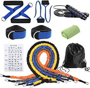 15 Pcs Resistance Bands Set,Exercise Bands with Guide and Carry Bag,Workout Bands for Men with Fitness Tension Bands,Handles,Door Anchor,Ankle Straps,Jump Rope and Cooling Towel for Home Gym Workout