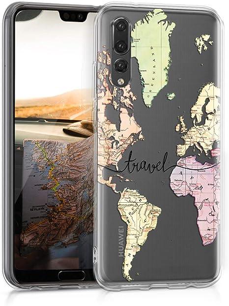 kwmobile Funda con Cuerda Compatible con Huawei P20 Pro Carcasa de TPU con Colgante Mapa del Mundo Negro//Transparente