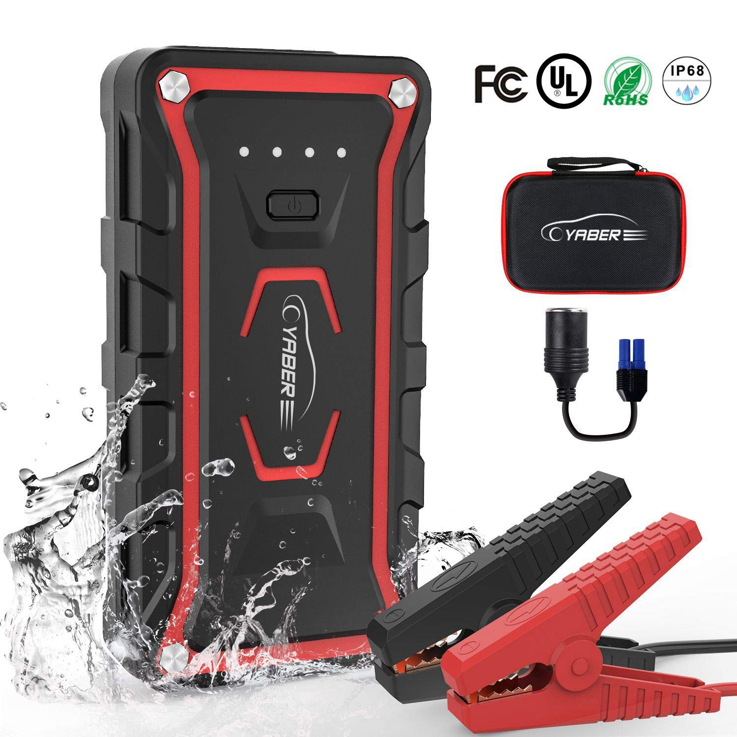 Car Jump Starter,Portable Jump Starter 1500A Peak 20000mAH(All Gas and 7L Diesel) 12V UL Certified Safe Car Jumper Power Pack with Smart Jump Cable Built-in LED Light Lithium Jump Starter by YABER