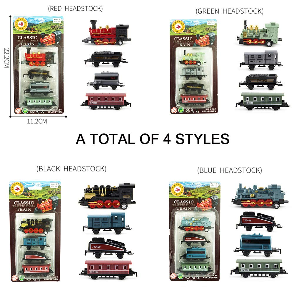 CORPER TOYS Mini Train Toy Die-Cast Pull Back Steam Train Model Set Assorted Styles for Kids Boys 4pcs