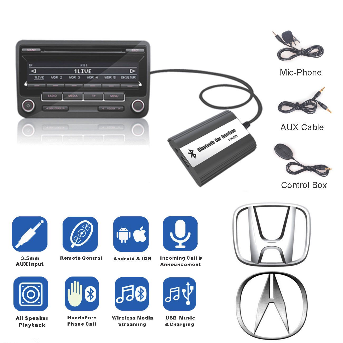 Amazon.com: For Honda Accord Civic Bluetooth Car MP3 CD change Adapter AUX  USB Music Char...: Home Audio & Theater