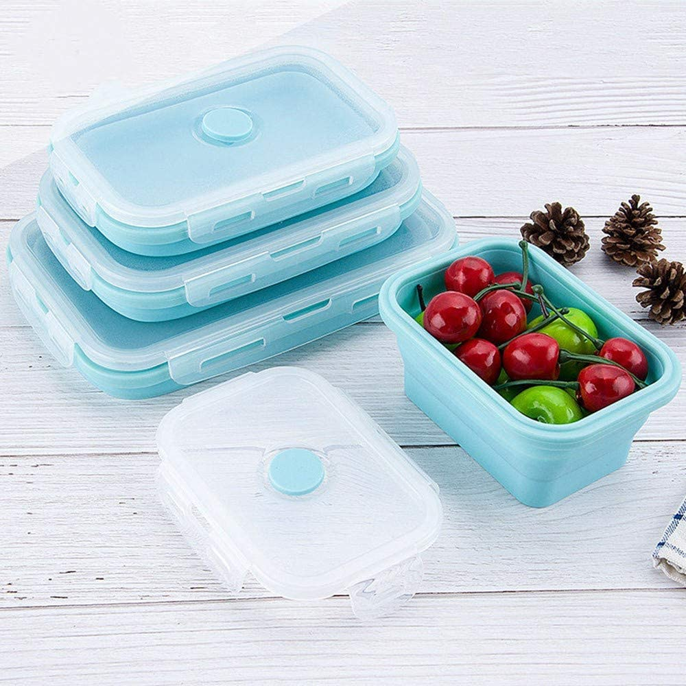 Collapsible silicone food storage container set of 3 with lids | Silicone Lunch Box | Microwaveable | Fridge, freezer dishwasher safe | BPA free,Foldable Food Storage Bento Box Blue