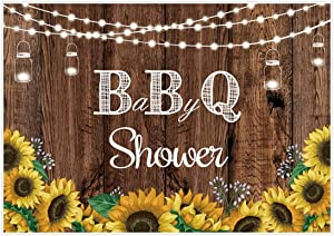 Allenjoy BBQ Baby Shower Photography Backdrop Glitter Sunflowers Mason Jar Rustic Wood Background for Kids Newborn Babies 1st Birthday Baptism Barbecue Party Decor Banner 7x5ft Photo Booth Props