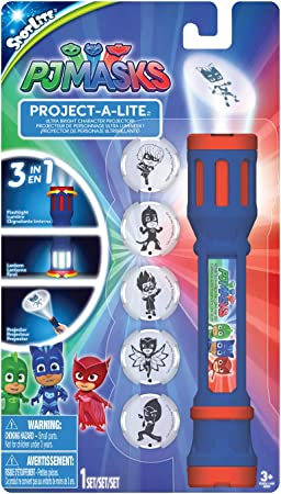 PJ Masks 40345 - Linterna de proyección con 6 lentes intercambiables para proyectar, multicolor