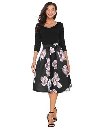 769dab33e2dbe Zeagoo Women s Skirt Vintage A line Floral Print Pleated Flared Midi ...