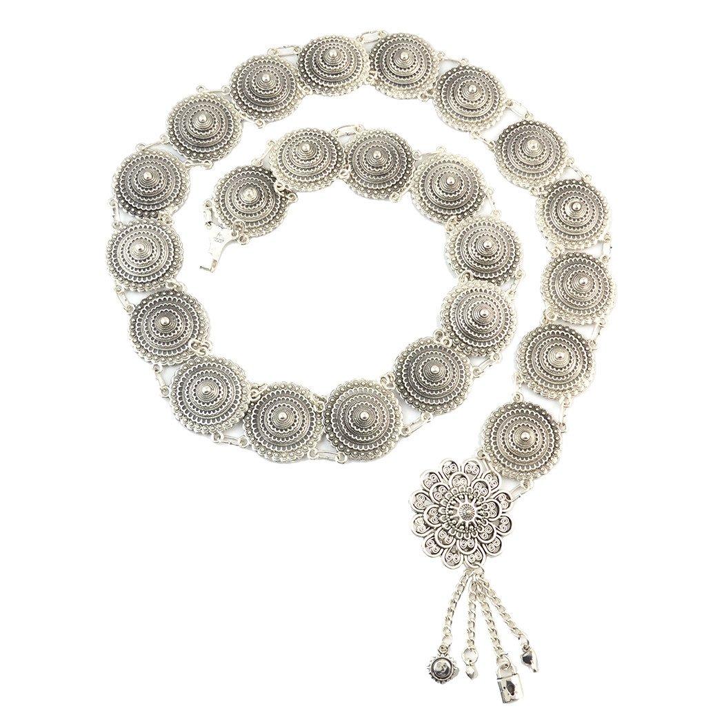 Idealway Vintage Waist Chian Hollow Carving Rhinestone Crystal Body Chain Summer Beach Body Waist Chain Jewelry (Silver N-7027)