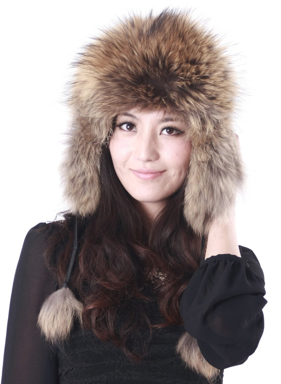 Pulinda Women's Finnraccoon Fur Hat Natural One Size by Pulinda