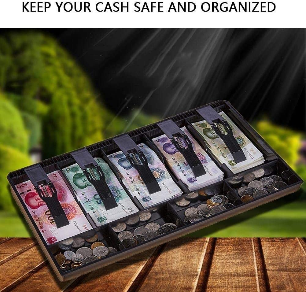 Color : White Kaimaily Storage Box Five Grids Cash Box Cash Drawer Register Insert Tray Replacement 4 Bills 3 Coins for Petty Cash Money Storage Box