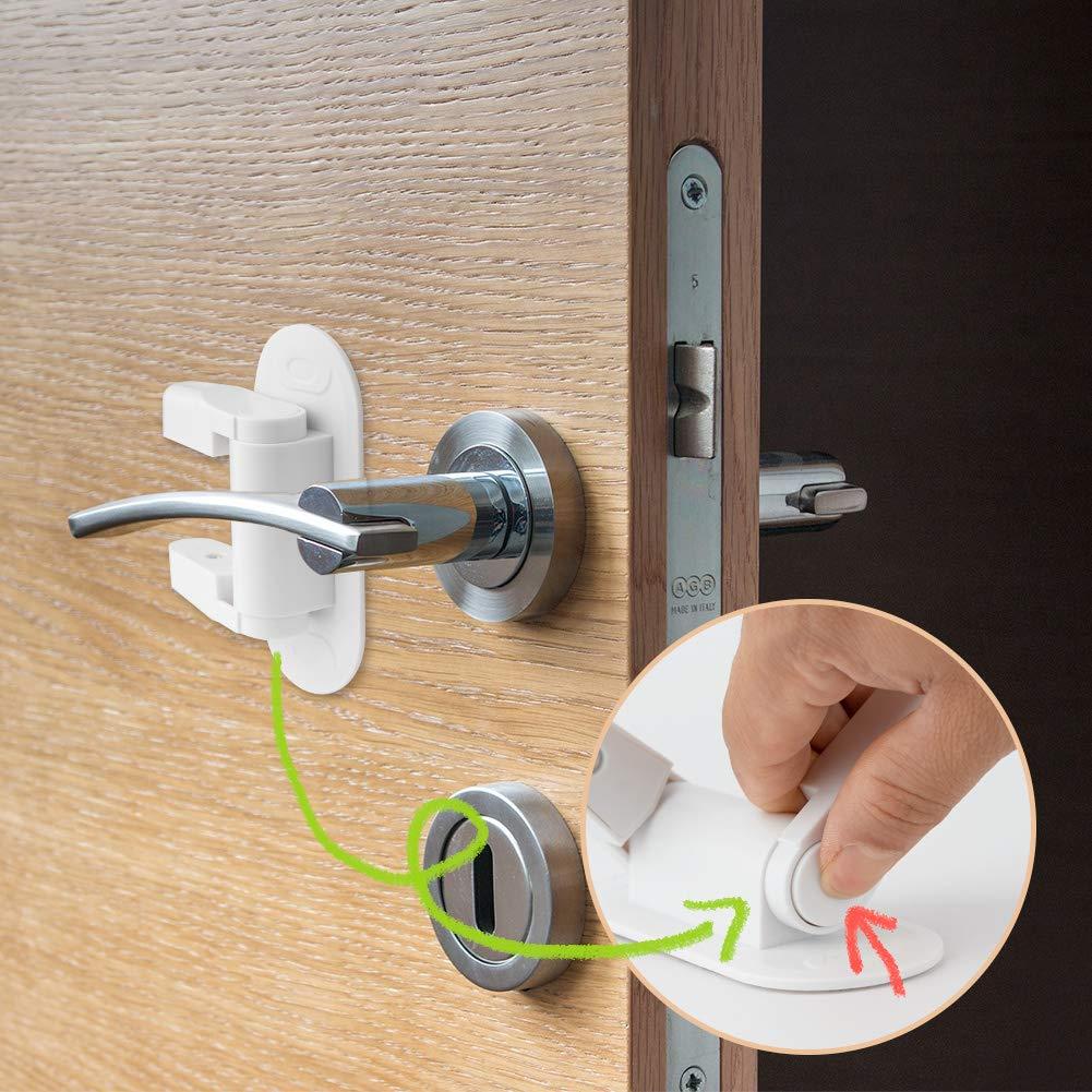 Surplex 2 Pack Baby Saftey Lock Door Handle Child Door Lever Lock Proof Door Handle Lock for Kids Toddler Safety No Drill No Screw with 3M Adhesive