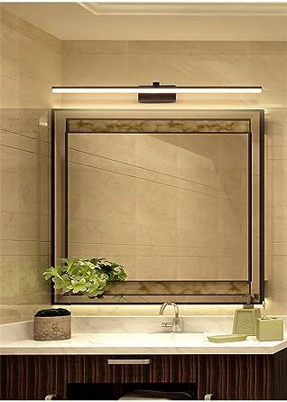 Spiegel Scheinwerfer Led Badezimmer Nordische Spiegel Eitelkeit Licht  Moderne Einfache Spiegel Eitelkeit Wasserdichte  Wandleuchte,Schwarz,Rundrohr 60X8X8cm: ...